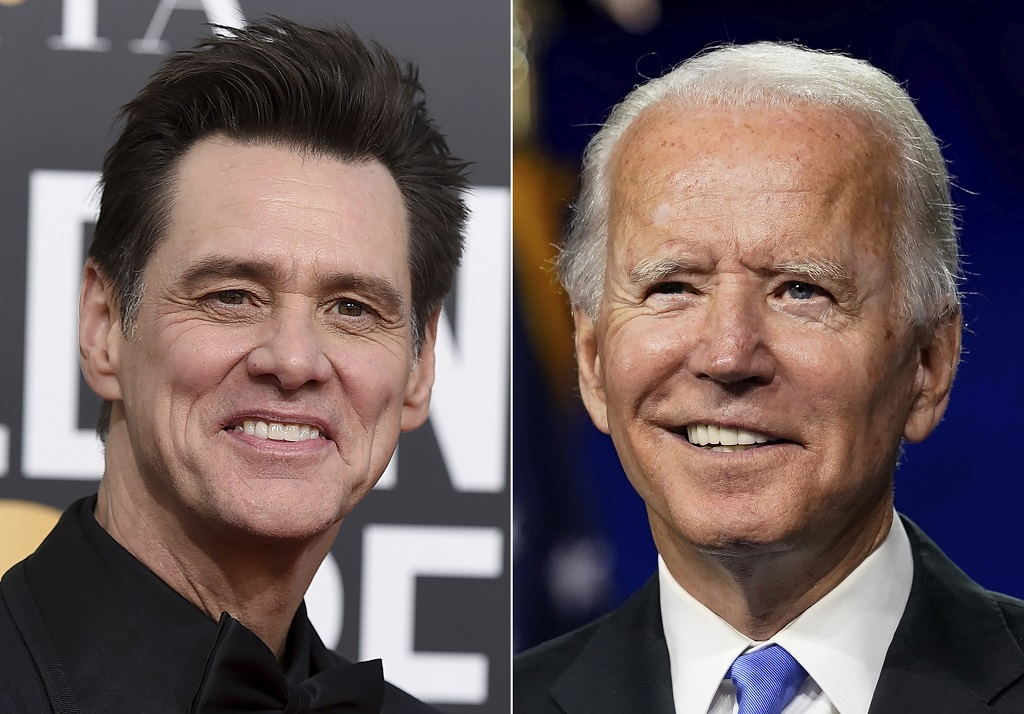 FILE - Actor-comedian Jim Carrey appears at the 76th annual Golden Globe Awards in Beverly Hills, California, on January 6, 2019, left, and Democratic presidential candidate former Vice President Joe Biden speaks during the fourth day of the Democratic National Convention, in Wilmington, Delaware, on August 20, 2020. (AP Photo/Andrew Harnik, File)