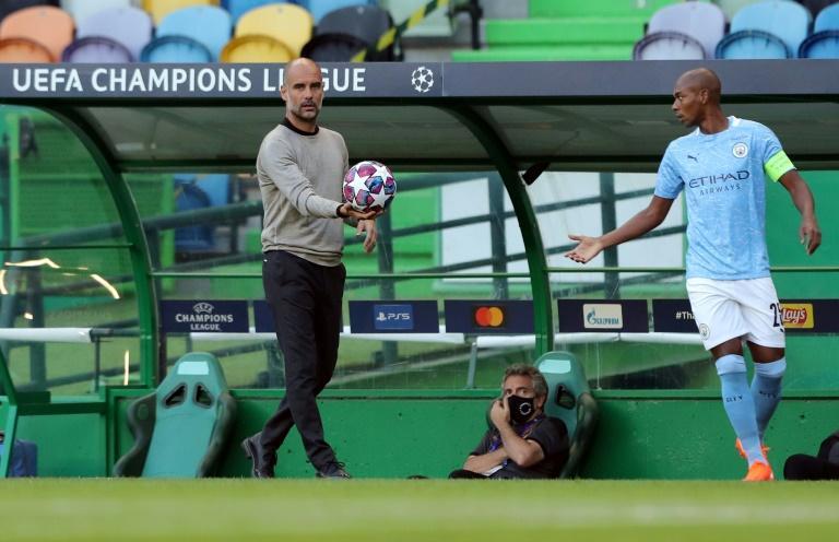 L'entraîneur de Manchester City Pep Guardiola lors du quart de finale de Ligue des Champions contre Lyon, le 15 août 2020 à Lisbonne Miguel A. Lopes POOL/AFP/Archives