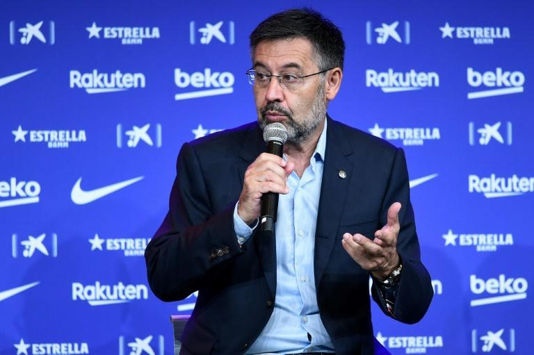 Le président du FC Barcelone, Josep Maria Bartomeu, lors d'un point presse au Camp Nou, le 19 août 2020 Josep LAGO AFP/Archives
