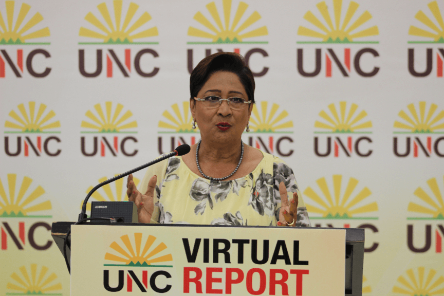 Photo: Opposition leader Kamla Persad-Bissessar speaks at a virtual political meeting on September 28, 2020.