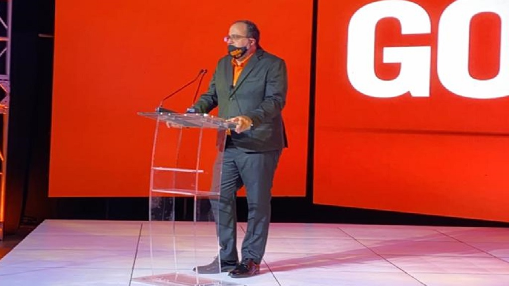 PNP presidential aspirant Mark Golding speaks at his campaign launch on Sunday.