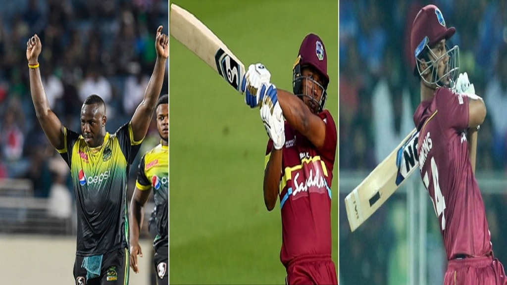 (From left) Andre Russell, Evin Lewis and Lendl Simmons.
