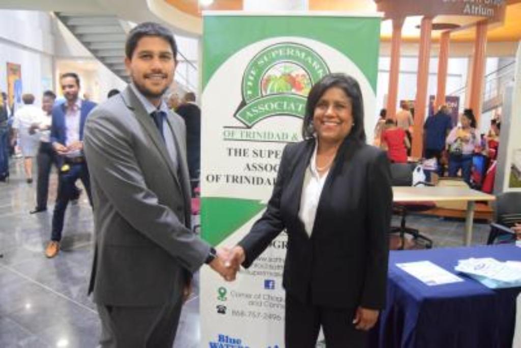 Photo: Supermarket Association President, Rajiv Diptee (left). Credit: news.gov.tt.