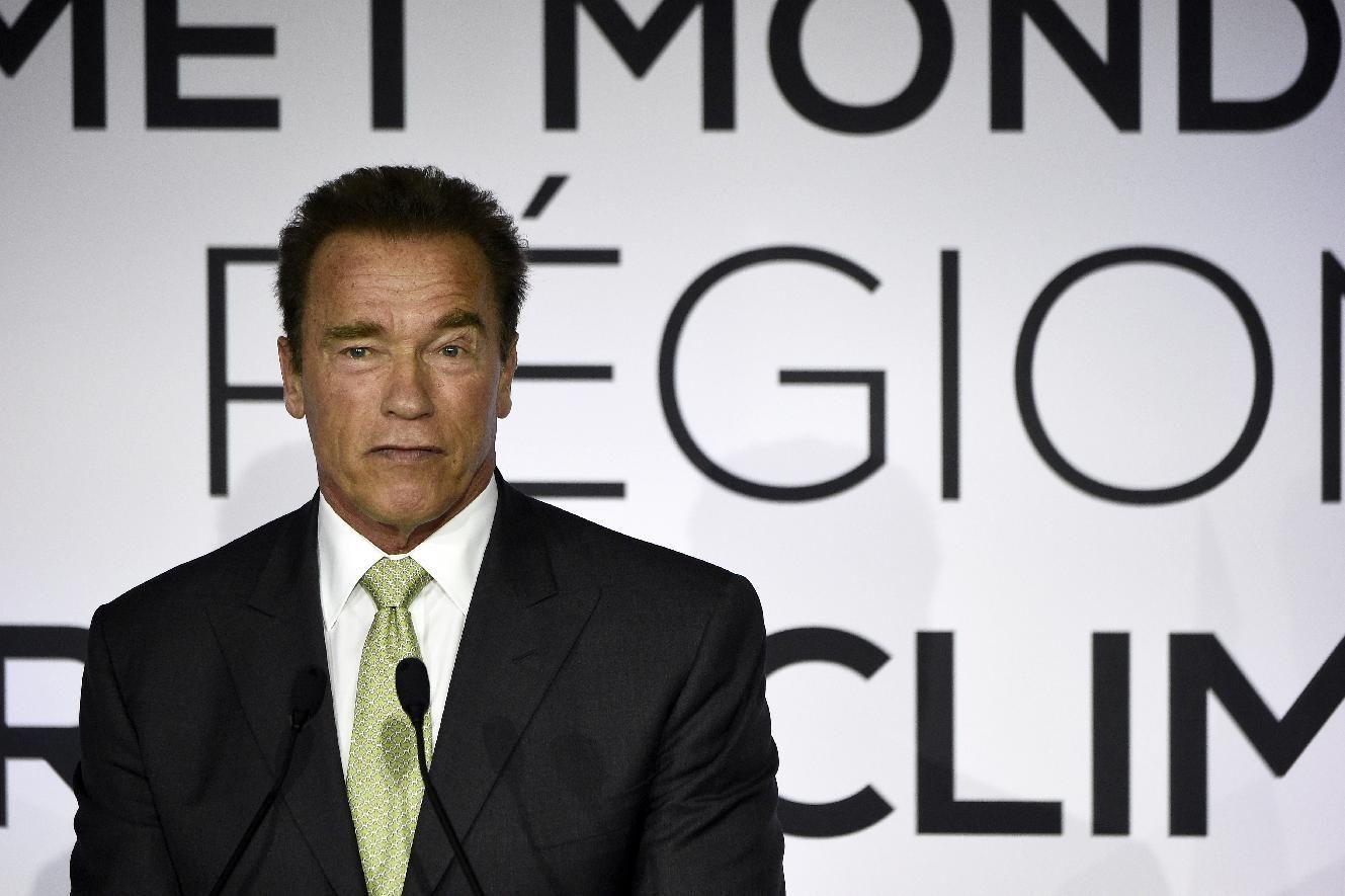 Arnold Schwarzenegger, acteur américain et ancien gouverneur de Californie, s'adresse au Sommet mondial des régions pour le climat à Paris le 11 octobre 2014 (AFP Photo / Lionel Bonaventure)
