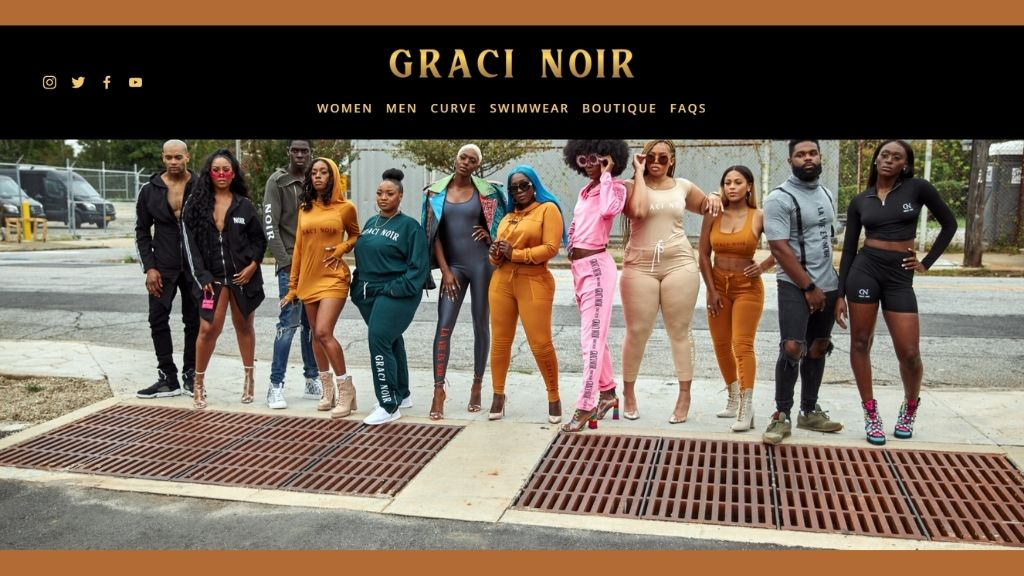 Queen of Dancehall Grace 'Spice' Hamilton (c) joins a selection of models in the official image for her new Graci Noir label. (Photo: via gracinoir.com)