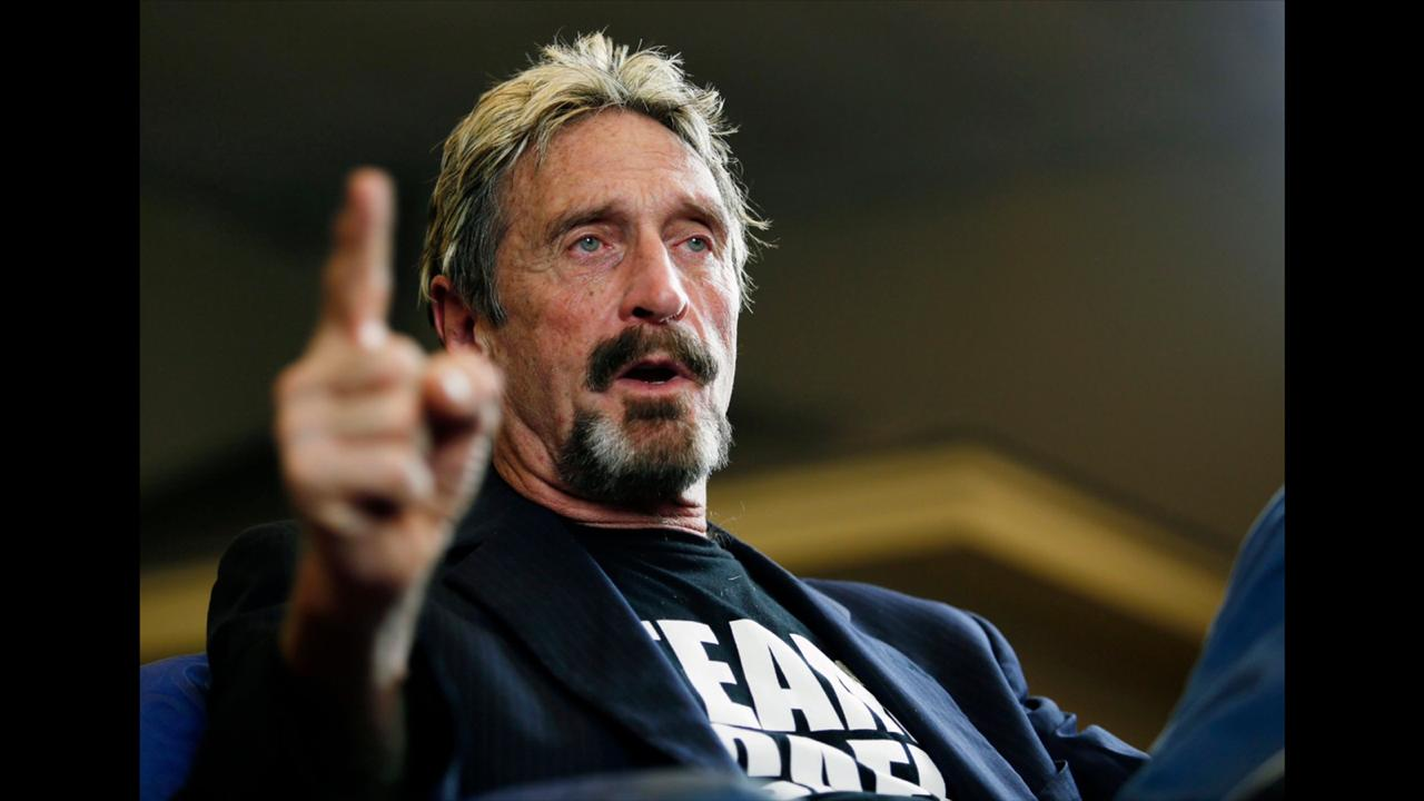 In this September 9, 2015, file photo, internet security pioneer John McAfee announces his candidacy for president in Opelika, Alaska.  (Todd J. Van Emst/Opelika-Auburn News via AP, File)