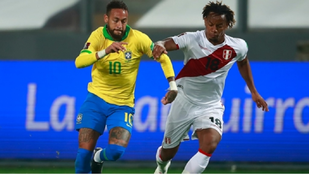 Brazil's Neymar, left, in action against Peru during a qualifying football match for the FIFA World Cup Qatar 2022 at the National Stadium, in Lima, Peru, Tuesday, Oct.13, 2020.