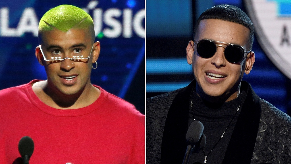 Bad Bunny, left, accepts the award for social artist of the year at the Billboard Latin Music Awards on April 25, 2019, in Las Vegas and Daddy Yankee accepts the award for favorite male artist at the Latin American Music Awards at the Dolby Theatre on Oct. 25, 2018, in Los Angeles. Bad Bunny and Daddy Yankee triumphed at the Billboard Latin Music Awards Wednesday, Oct. 21, 2020, claiming seven trophies apiece at the pandemic-delayed show. (AP Photo)
