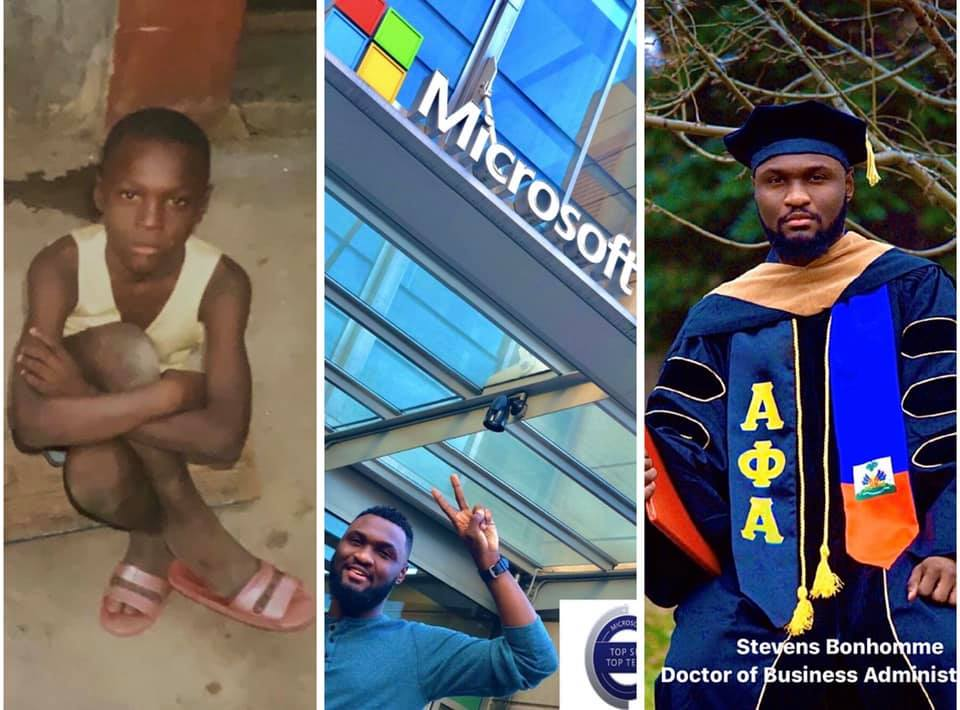 A gauche, Stevens Bonhomme, à Camp-Perrin/ A droite, Stevens Bonhomme, 28 ans, diplômé de la CalUniversity/ Photo contribuée.