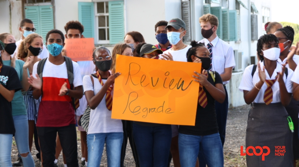 Students in Barbados outside the CXC Headquarters calling for reviews and regrading ahead of the meeting of the Review Team. (FILE)