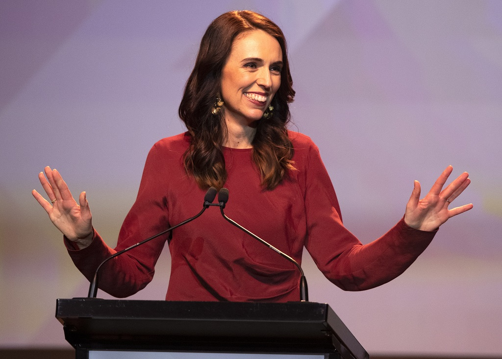 New Zealand Prime Minister Jacinda Ardern gestures as she gives her victory speech to Labour Party members at an event in Auckland, New Zealand, Saturday, October 17, 2020. (AP Photo/Mark Baker)