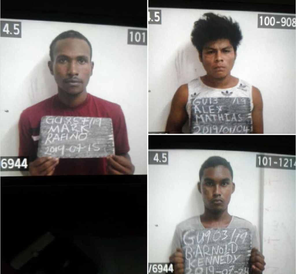 The three prisoners who escaped from Lusignan Prison, Guyana.