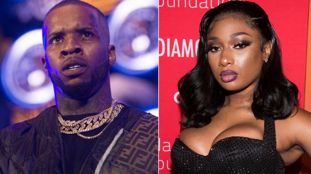 Tory Lanez performs at HOT 97 Summer Jam 2019 in East Rutherford, NJ on June 2, 2019, left, and Megan Thee Stallion attends the 5th annual Diamond Ball benefit gala in New York on September12, 2019.  (Photos by Scott Roth, left, Charles Sykes/Invision/AP)