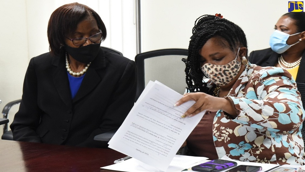 Senior Director, Customer Service Unit, Ministry of Economic Growth and Job Creation (MEGJC), Sandra Senior Brown (left), observes as Senior GIS Manager and Trainer, National Spatial Data Management Branch, MEGJC, Simone Lloyd, peruses a document during the official launch Customer Service Week in New Kingston on Monday.