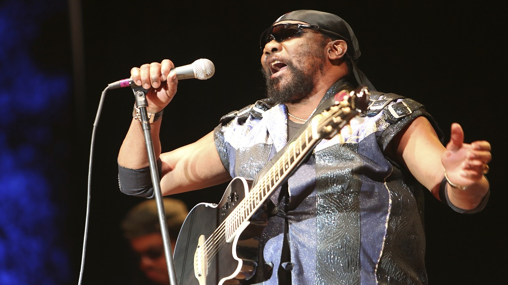 In this July 13, 2019 file photo, Toots Hibbert performs with the Maytals in Grass Valley, California. (Elias Funez/The Union via AP)