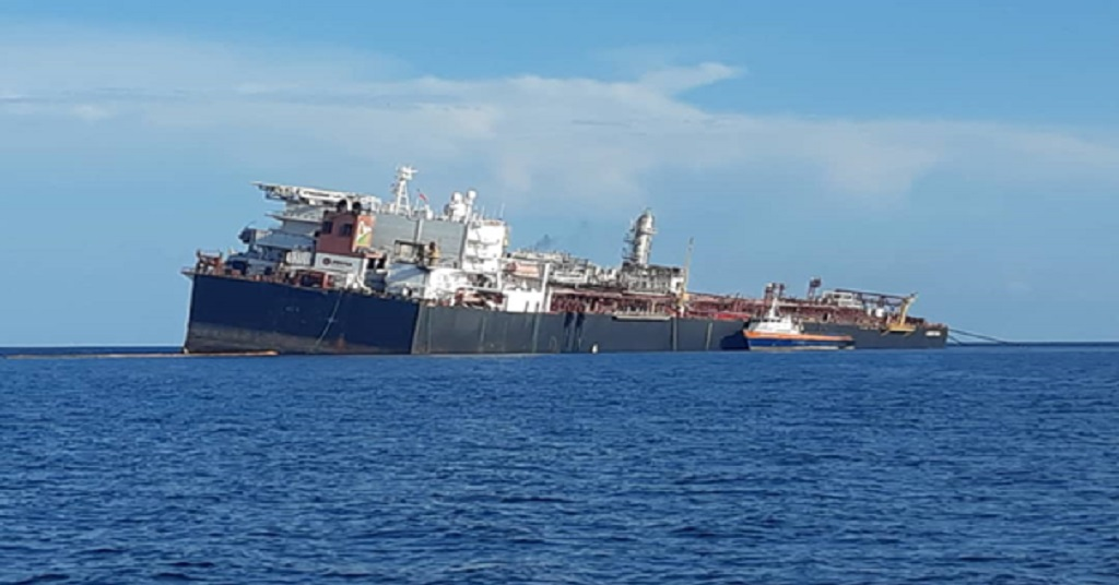 Photo: This image of the listing FSO Nabarima was shared via social media on October 15. Venezuelan officials have labelled the photo propaganda, saying the photo was taken prior to stabilisation work which was done on the vessel. Photo via FFOS/Facebook.