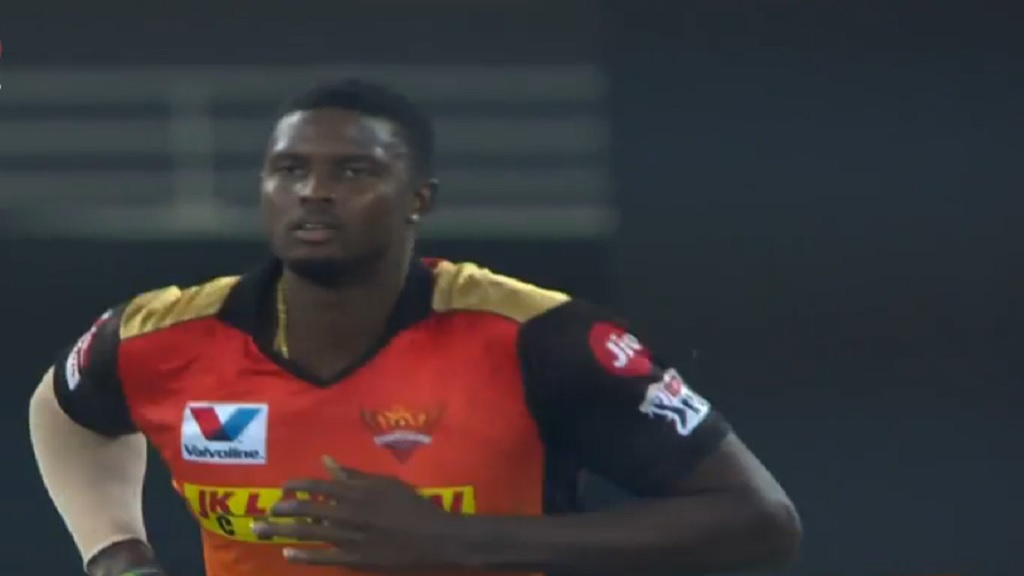 Jason Holder in action for Sunrisers Hyderabad in the Indian Premier League  in Dubai on Thursday, October 22.