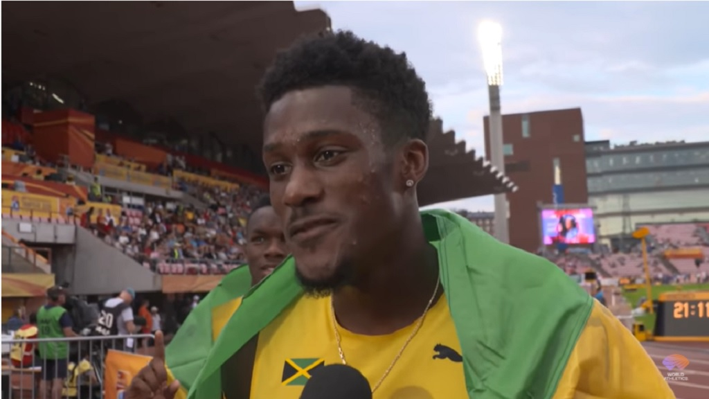 Damion Thomas after winning the 110m hurdles gold medal at the IAAF World Under-20 Championships in  Tampere, Finland on July 12, 2018.