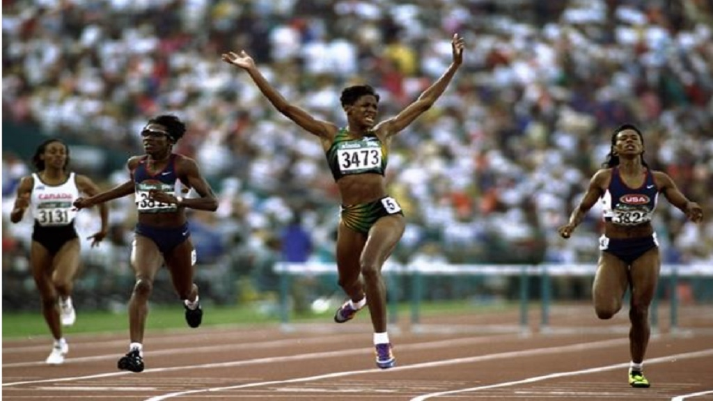 Deon Hemmings wins the 400m hurdles at the 1996 Olympic Games in Atlanta. (PHOTO: World Athletics).