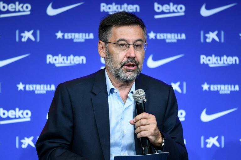 Le président du FC Barcelone, Josep Maria Bartomeu, lors d'un point presse au Camp Nou, le 19 août 2020 afp.com - Josep LAGO