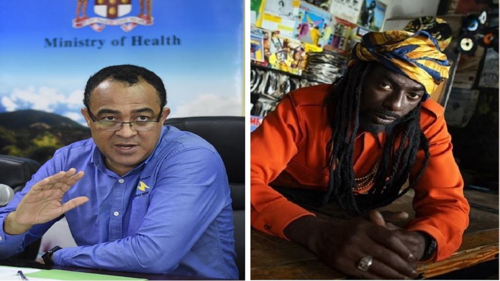 Combination of photos showing health minister Dr Christopher Tufton (left) and reggae artiste Buju Banton.
