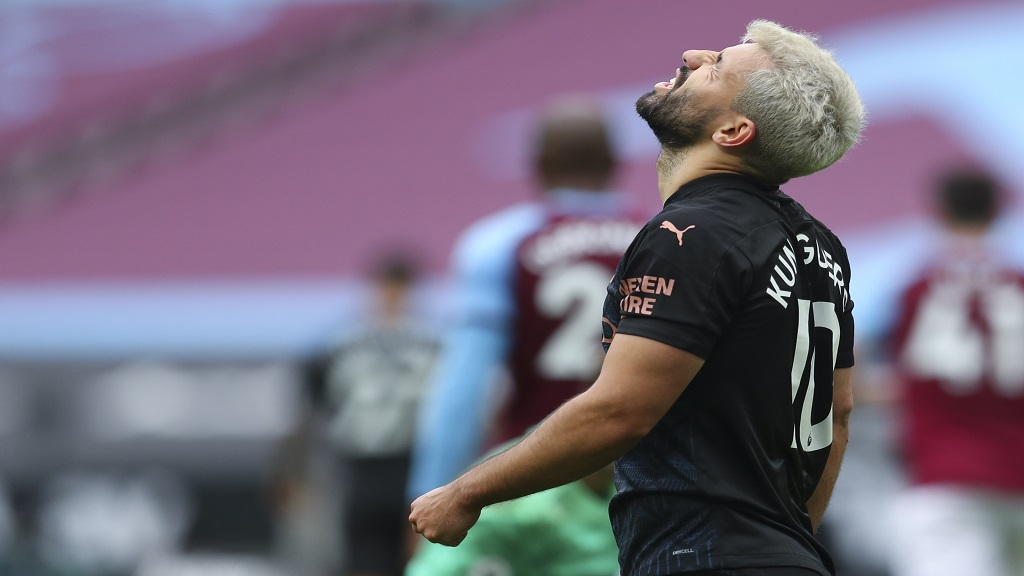 Manchester City's Sergio Aguero reacts during the English Premier League football match against West Ham, at the London Olympic Stadium Saturday, Oct. 24, 2020. (Catherine Ivill, Pool via AP).