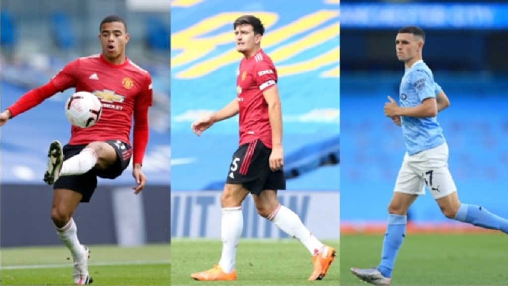 (From left) Mason Greenwood, Harry Maguire and Phil Foden.