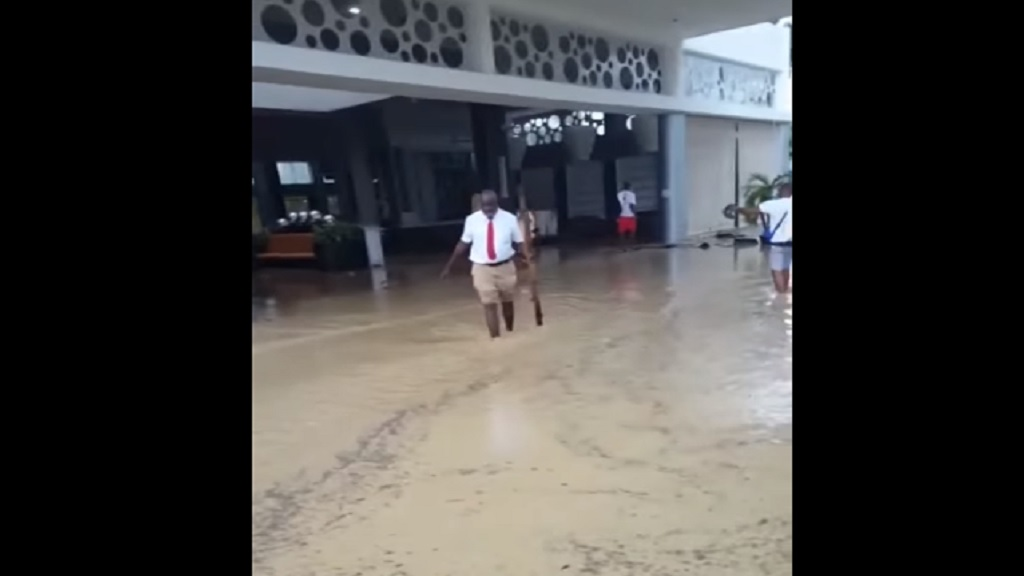 A screen grab from one of the videos showing flooding at the Riu Reggae hotel in Montego Bay.