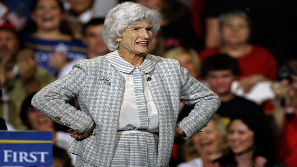 In this October 16, 2008, file photo Roberta McCain, stands on stage during a rally in Downingtown, Philadelphia. (AP Photo/Carolyn Kaster, File)