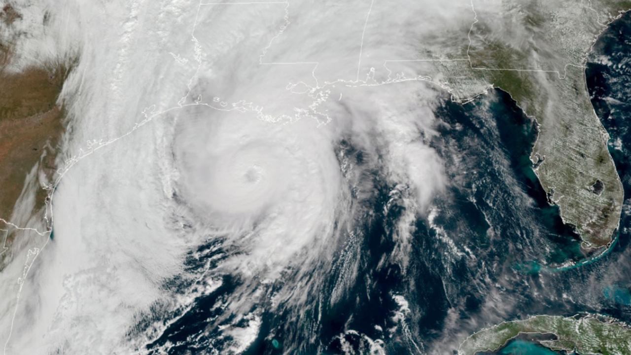 This GOES-16 GeoColor satellite image taken, Wednesday, October 28, 2020, at 1pm EDT, and provided by NOAA, shows Hurricane Zeta in the Gulf of Mexico nearing Louisiana. (NOAA via AP)