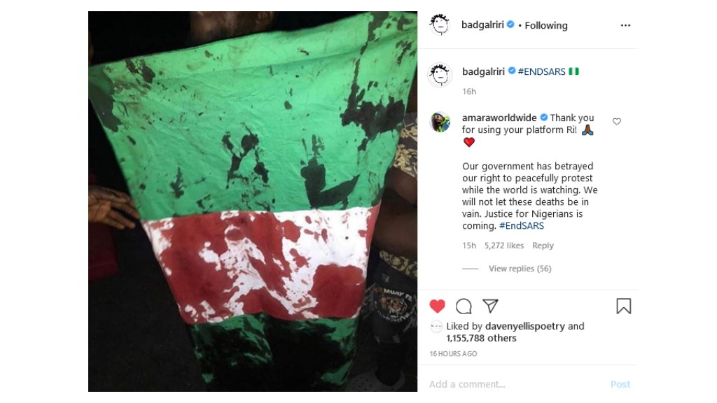 Rihanna posts to Instagram in support of protests in Nigeria