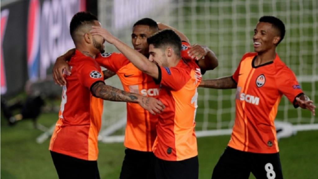 Shakhtar celebrate in Madrid.
