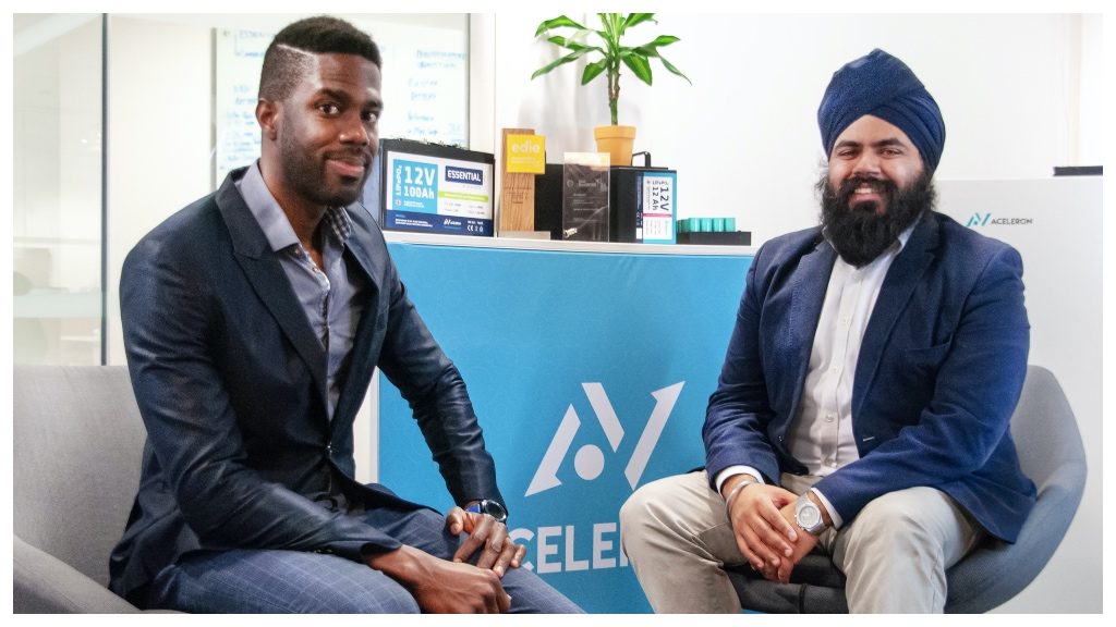 Barbadian-born Carlton Cummins (left) with Aceleron co-founder Amrit Chandan.