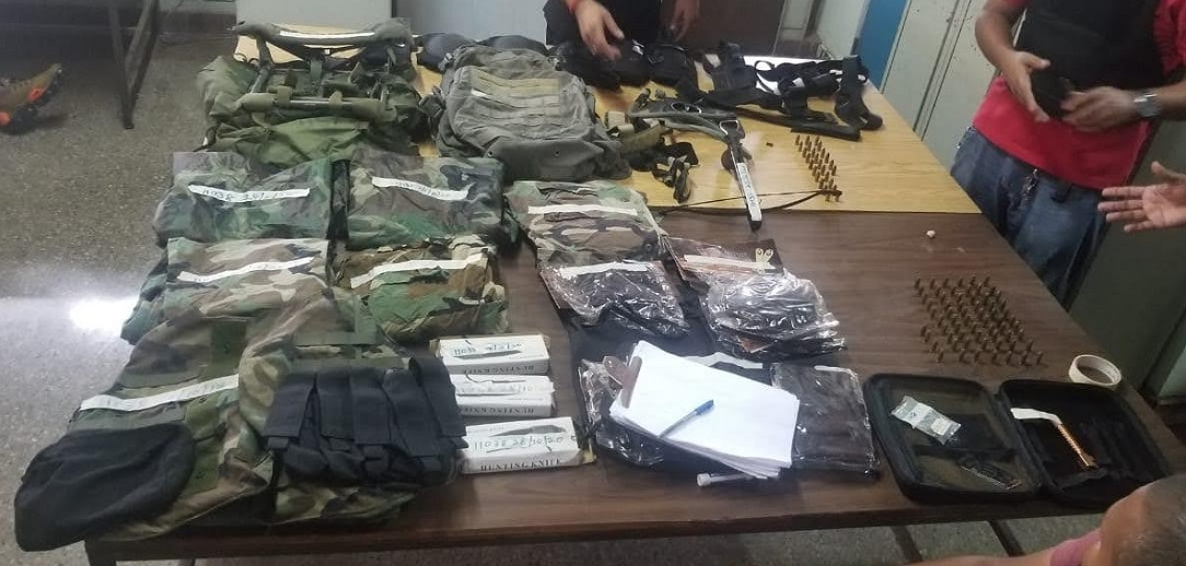 Items seized during anti-crime exercise. Photo courtesy the Trinidad and Tobago Police Service.