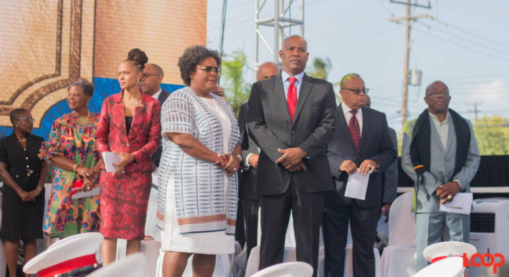 Prime Minister Mia Mottley, with some of her Members of Cabinet during their swearing-in ceremony.