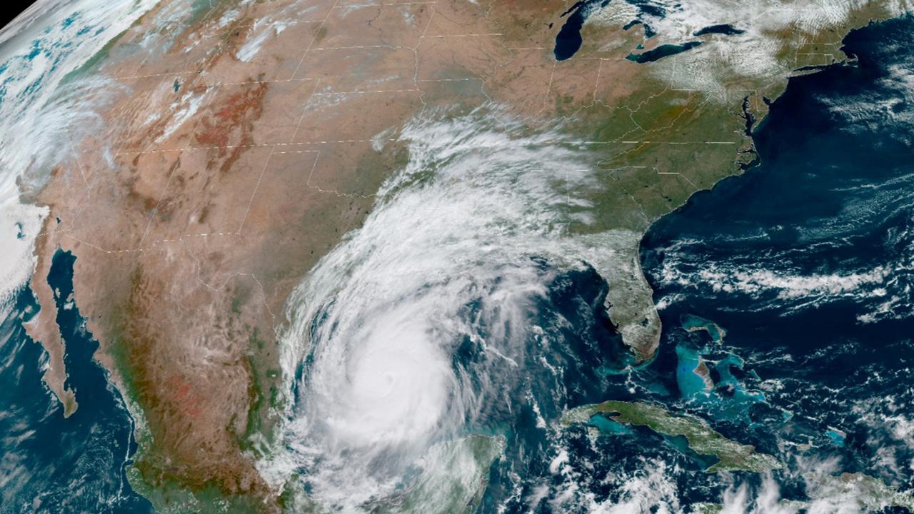 This October 8, 2020 photo made available by the National Oceanic and Atmospheric Administration shows Hurricane Delta in the Gulf of Mexico at 12:41 p.m. EDT. (NOAA via AP)