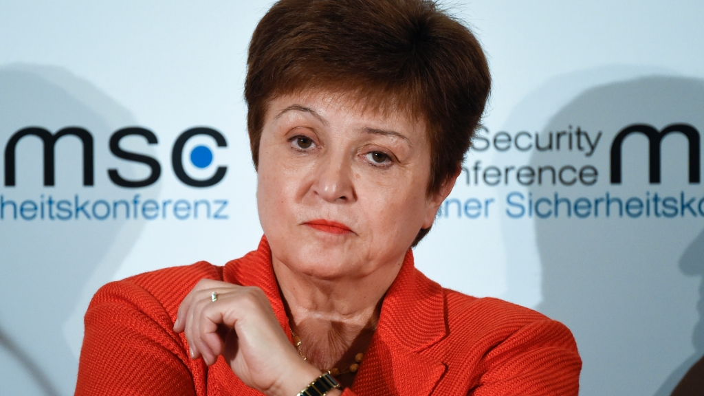 In this February 14, 2020, file photo, Kristalina Georgieva, Managing Director of the International Monetary Fund, attends a session on the first day of the Munich Security Conference in Munich, Germany. Photo: AP Photo/Jens Meyer, File