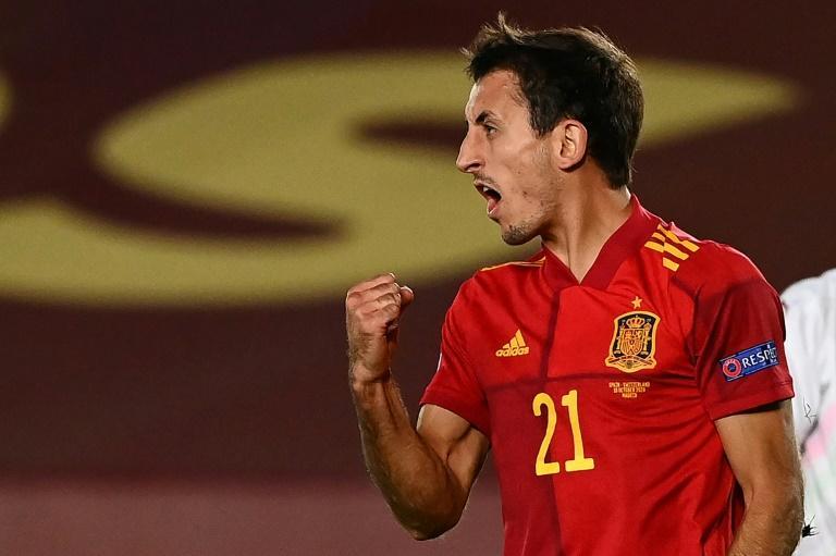 L'attaquant de l'Espagne, Mikel Oyarzabal, buteur face à la Suisse lors du match de groupes de la Ligue des nations, à Valdebebas, le 10 octobre 2020 GABRIEL BOUYS AFP