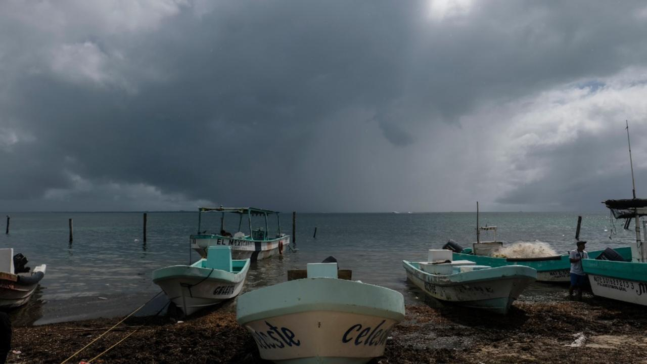 Boats sit closer to the shore after they were secured by fishermen preparing for the arrival of Hurricane Delta in Puerto Juarez, Cancun, Mexico, Tuesday, October 6, 2020. Hurricane Delta rapidly intensified into a potentially catastrophic Category 4 hurricane Tuesday on a course to hammer southeastern Mexico and then continue on to the US Gulf coast this week. (AP Photo/Victor Ruiz Garcia)