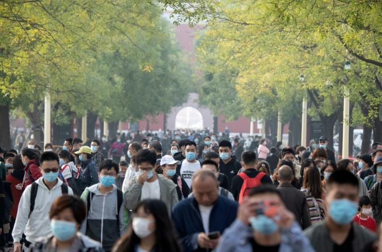 A l'extérieur de la Cité interdite à Pékin le 8 octobre 2020