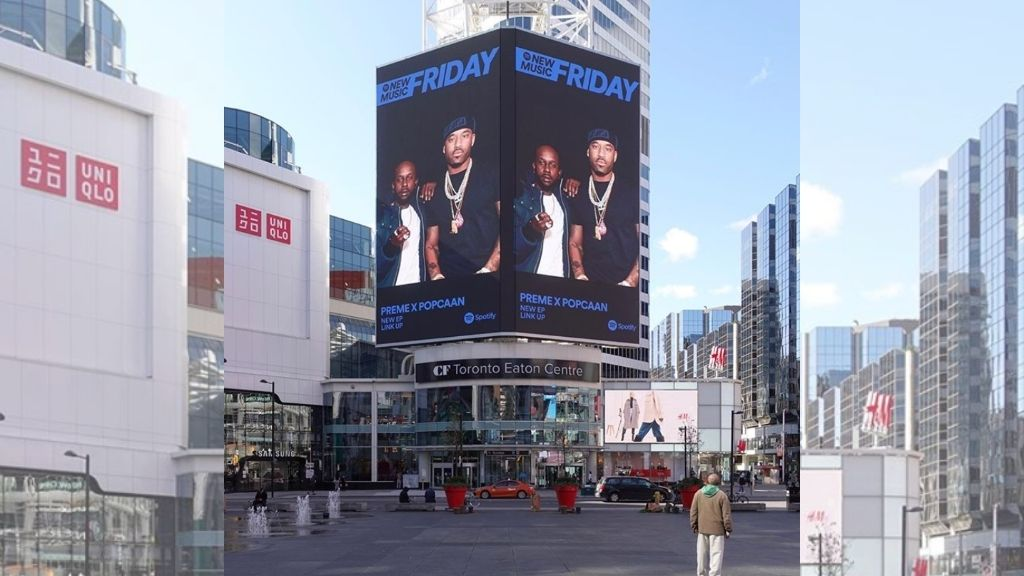 The billboard features Popcaan and Canadian rapper Preme, promoting their new EP Link Up. (Photos: Instagram)