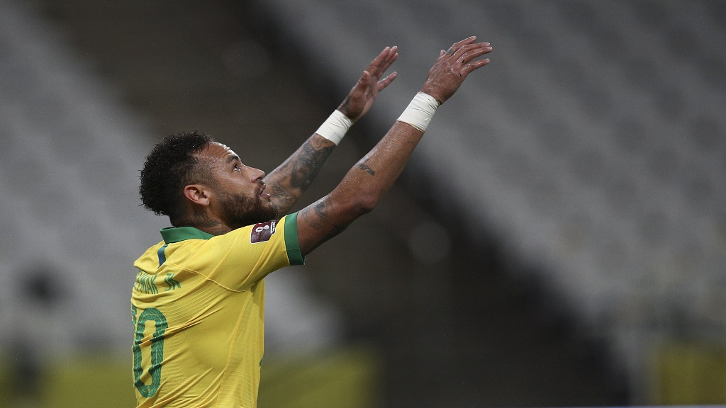 Brazil's Neymar reacts during a qualifying football match for the FIFA World Cup Qatar 2022 against Bolivia at the Neo Quimica arena in Sao Paulo, Brazil, Friday, October 9, 2020. (Buda Mendes/Pool via AP).