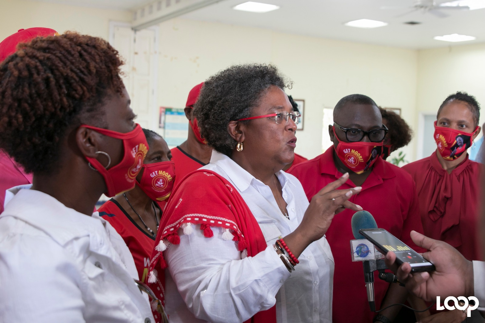Prime Minister Mia Mottley was at the Valley Resource Centre showing her support for BLP candidate Toni Moore.