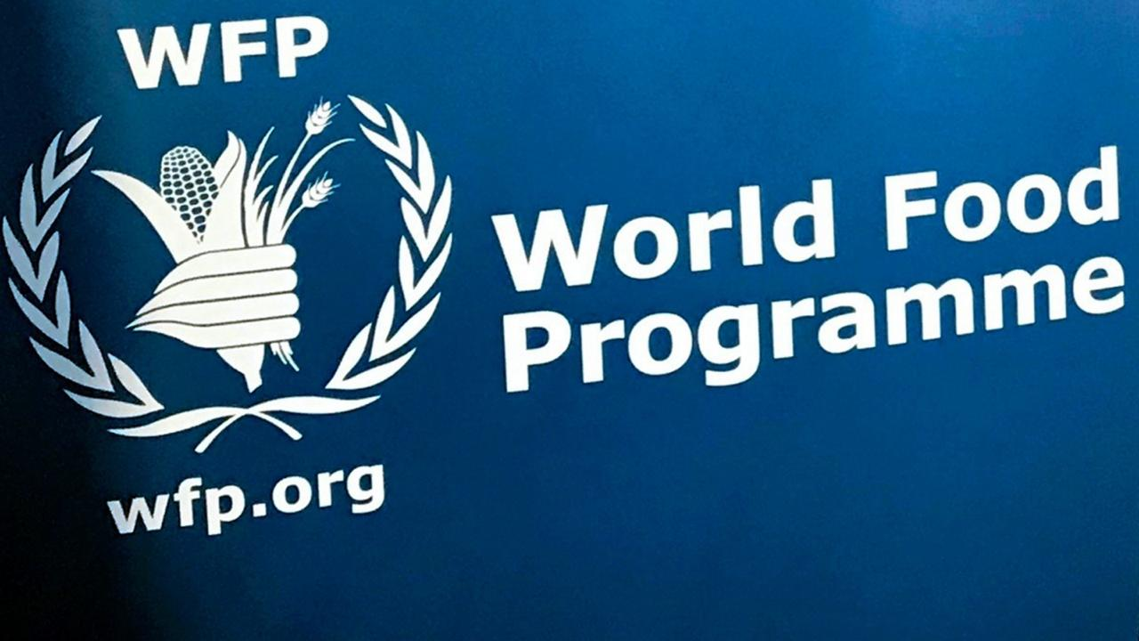 In this November 6, 2017 file photo, the UN World Food Program's logo at the agency's headquarters in New York.  (AP Photo/Robert Bumstead, File)