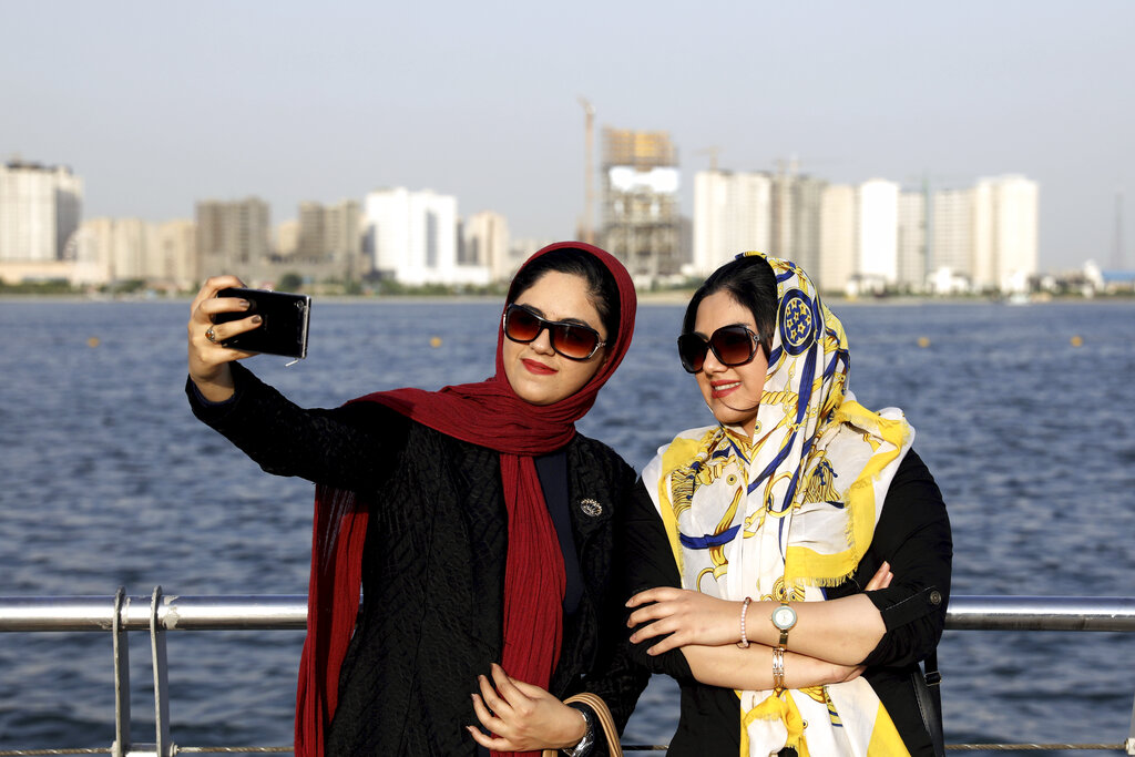 Muslim women taking a selfie (FILE)