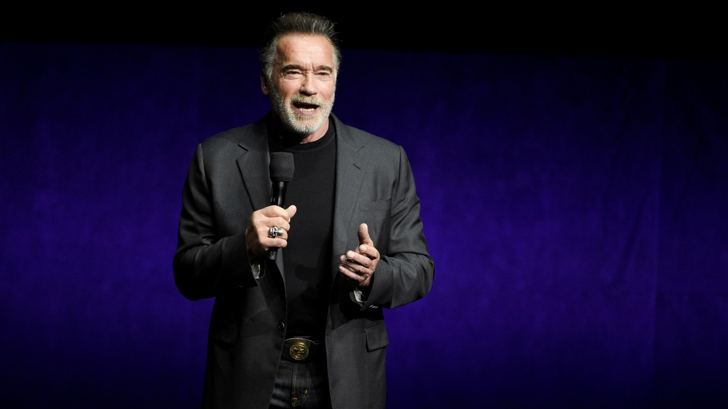 "FILE - Arnold Schwarzenegger discusses ""Terminator: Dark Fate"" during the Paramount Pictures presentation at CinemaCon on April 4, 2019, in Las Vegas. Schwarzenegger says he feels ""fantastic"" after his recent heart surgery. The 73-year-old actor and former California governor said on social media Friday, Oct. 23, 2020, that he had a new aortic valve implanted in his heart. (Photo by Chris Pizzello/Invision/AP, File)"