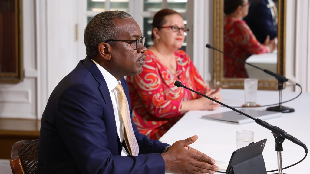 Governor Albert Bryan and Health Commissioner Justa Encarnacion at today's media briefing. Photo: VI Government House