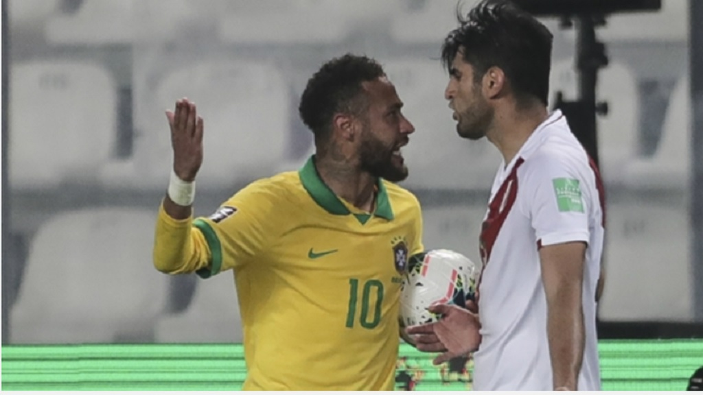 Brazil's Neymar, left, and Peru's Carlos Zambrano in a heated argument during a qualifying football match for the FIFA World Cup Qatar 2022 at the National Stadium, in Lima, Peru, Tuesday, Oct.13, 2020. Brazil won 4-2.