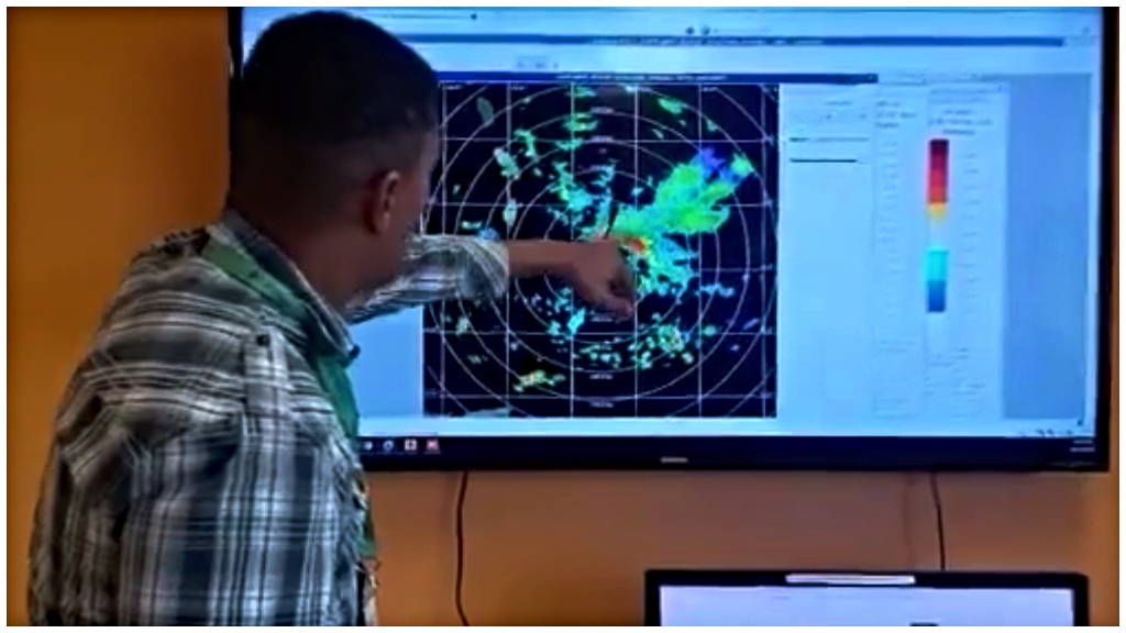 Acting Directorof theBarbados MeteorologicalServices, SabuBest showing the system on the radar.