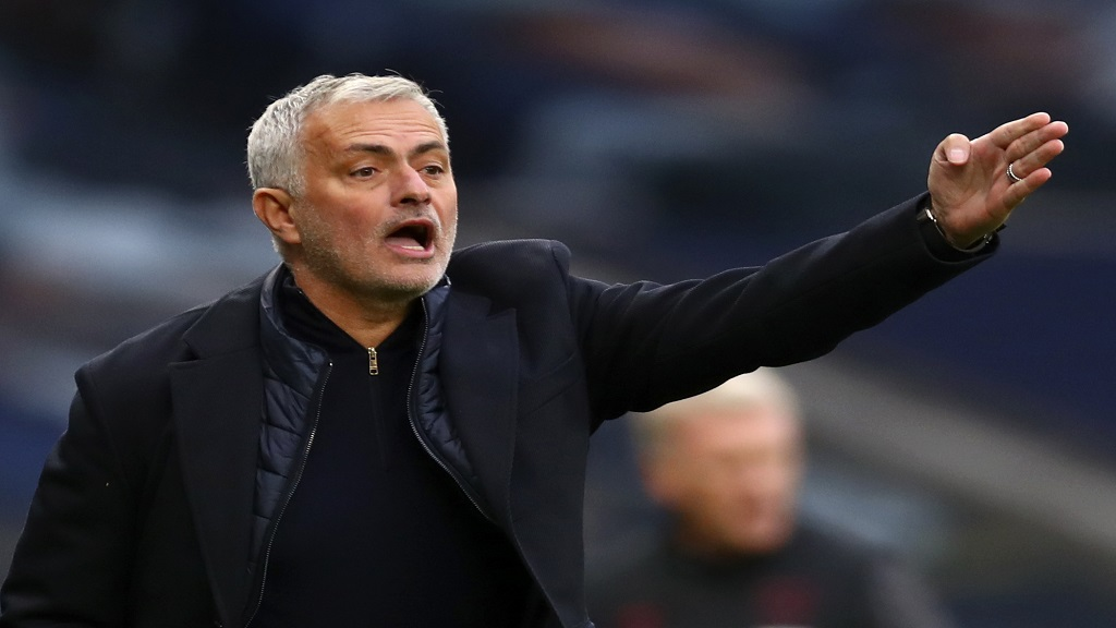 Tottenham's manager Jose Mourinho gestures during the English Premier League football match against West Ham United at the Tottenham Hotspur Stadium in London, England, Sunday, Oct. 18, 2020. (Clive Rose/Pool via AP).